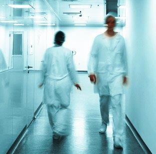 Nurses in hospital corridor